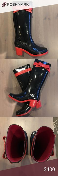 Kate Spade rainboots!! Vintage Kate Spade, won't find any heeled rainboots like this in recent collections! Tall black rainboots with red rubber heels, and an adorable red rubber ribbon and bow around each calf. Size 9, although I'm a size 9.5 and personally they fit me comfortably. Perfect way to dress up your rain gear! kate spade Shoes Winter & Rain Boots