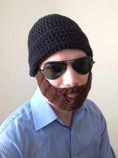 Handmade Crochet Beard Hat in Black beanie hat with by SueStitch, $34.99