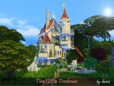 This fairy-tale-like treehous is built in The Sims 4 environment in charming Windenburg. Found in TSR Category 'Sims 4 Residential Lots' Vampire House, Sims 4 Controls, Sims Building, Building Ideas, The Sims 4 Lots, Sims House Design, Casas The Sims 4, Sims 4 Build, Sims 4 Game
