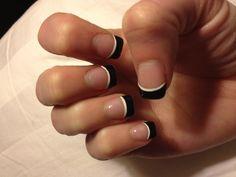 Black French tip.. Cute nail design!