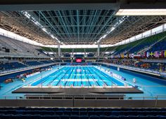 Stage of the swimming competitions and water polo finals, the Olympic Aquatics Stadium has two swimming pools: one for the events and the other for warming up. The structure is temporary and will be dismantled after the Games. Rio Olympics 2016, Summer Olympics, Olympic Swimming, Swimming Pools, Swim Days, Summer Games, Water Polo, Summer Dream, Rio 2016