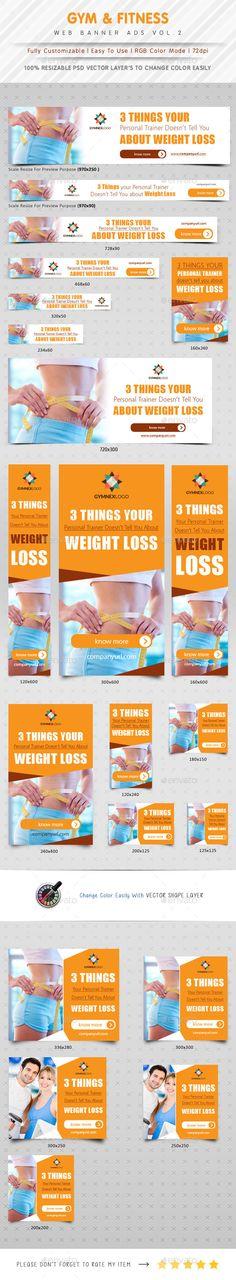 Gym & Fitness Web Banner Ads   Download: http://graphicriver.net/item/gym-fitness-web-banner-ads-vol-2/10336923?ref=ksioks