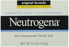 Neutrogena Original Fragrance-Free Facial Cleansing Bar with Glycerin, Pure & Transparent Gentle Face Wash Bar Soap, Free of Harsh Detergents, Dyes & Hardeners, oz Best Face Products, Pure Products, Beauty Products, Facial Bar, Skin Dermatologist, Facial Cleansing, Acne Prone Skin, Neutrogena, Face Cleanser