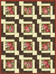 Quilt kit features nostalgic coral, pink and red roses on a brown background a very vintage looking quilt kit. Yes this quilt kit is pre-cut for you. There are large roses on a brown background, brown