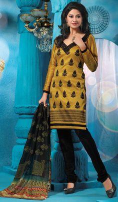 Gold Black Designer Party Wear Salwar Kameez