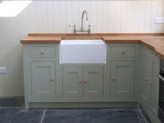 Painted Shaker framed kitchen detail Shown here finished in Farrow & Ball French Gray No.18 All cabinets can are offered in all of the standard sizes or can be custom built to suit your needs