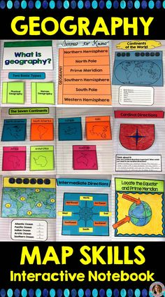 Teaching geography and map skills can be fun and engaging! Are you looking for ways to teach geography in your social studies classroom? This resource provides templates for reading a map, a map legend, latitude and longitude, the Equator and Prime Meridi Social Studies Projects, 3rd Grade Social Studies, Social Studies Notebook, Social Studies Worksheets, Social Studies Classroom, Social Studies Activities, Teaching Social Studies, Math Worksheets, Elementary Social Studies