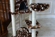 This beautifully crafted elegant cat tree can be easily assembled . On Sale! Modern Cat Furniture, Pet Furniture, Cat Tree Designs, Cat Condo, Scratching Post, Animal Design, Cat Trees, Kitty, Condos