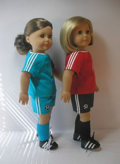 Custom Soccer Uniform, Cleats and Socks for American Girl or Other 18 Inch Doll. via terristouch on Etsy