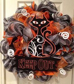Halloween mesh door wreath