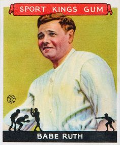 """Photo: 1933 Babe Ruth """"Sport Kings"""" baseball card produced by the Goudey Gum Company. Credit: Wikimedia Commons. Read more on the GenealogyBank blog: """"Babe Ruth Wins First All-Star Game with Bat and Glove."""" https://blog.genealogybank.com/babe-ruth-wins-first-all-star-game-with-bat-and-glove.html"""