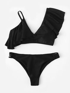 Black Swimsuit With Asymmetrical Ruffle Ladder Cut Out Bikini Bottom - AzZKey Black Swimsuit, Black Bikini, Summer Outfits, Cute Outfits, Cut Out Bikini, Bikini Outfits, Cute Bathing Suits, Bodybuilding, Cute Bikinis