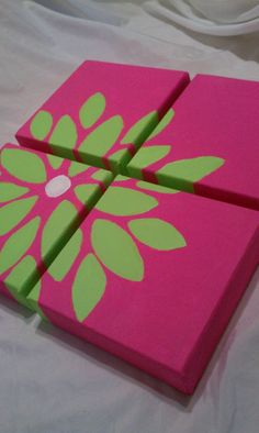 This - but different colors and bigger canvases. Bright Pink and Green Floral Canvas Painting by LOSTCreations93, $19.99