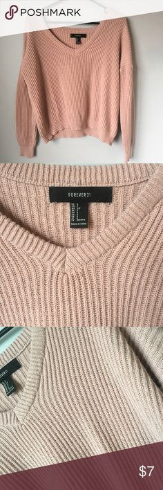 Pink Forever 21 Sweater Cute and soft, almost perfect condition. It's slightly cropped, it comes a little below my belly button. Forever 21 Tops