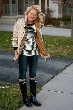 c98a81b9a031 Just Dandy by Danielle  What I Wore  Stripes and Hunters. Hunter Rain  BootsHunter ...