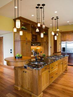 Gourmet Craftsman Kitchen With Multiple Pendant Lights