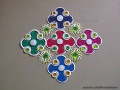 Simple, easy and quick rangoli design for beginners Rangoli Colours, Rangoli Patterns, Colorful Rangoli Designs, Rangoli Ideas, Kolam Designs, Indian Rangoli, Diwali Rangoli, Free Hand Rangoli Design, Muggulu Design