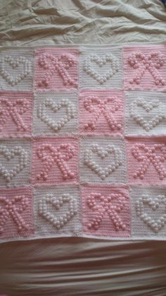 Ravelry: Tinney's Hearts and Bows Blanket