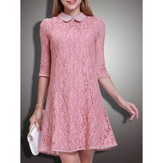 Pink Pierced Lace A-line Sweet Mini Dress ($71) ❤ liked on Polyvore featuring dresses, pink a line dress, pink lace dress, short a line dresses, crew neck dress and short lace dress
