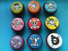 one piece anime character flag cupcake