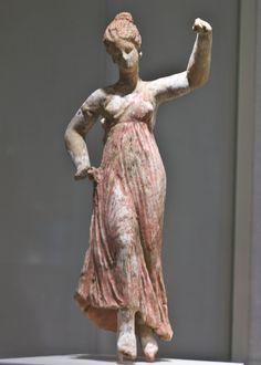 Ancient Greek terracotta statuette of a dancing maenad, 3rd c. B.C.