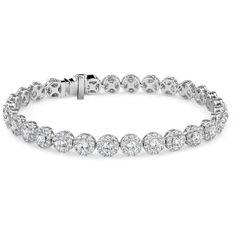 Blue Nile Diamond Halo Bracelet ($24,000) ❤ liked on Polyvore featuring jewelry, bracelets, white gold bangle, blue nile, white gold jewellery, 18k white gold bangle and blue nile jewelry