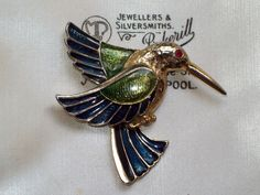 BEAUTIFUL VINTAGE JEWELLERY RICH BLUE GREEN ENAMEL HUMMINGBIRD BIRD BROOCH/PIN