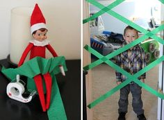 Elf on the Shelf playing pranks- think Im doing this for the first morning. christmas-holiday..Love it! haha