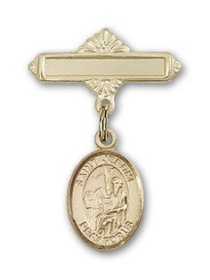 ReligiousObsessions Gold Filled Baby Badge with St Jerome Charm and Polished Badge Pin >>> Click image for more details.