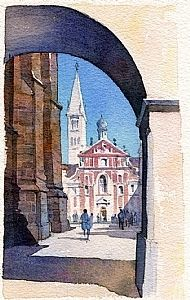 st. georges - prague by Thomas  W. Schaller Watercolor ~ 11 inches x 7 inches