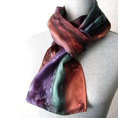 Silk Scarf Hand Painted in Brown, Plum and Green