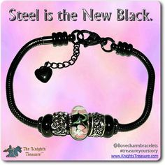 Timeline Treasures Charm Bracelet For Women, Black Stainless Steel Snake Chain, Fits Pandora Jewelry, Lobster Claw Clasp, 7.5 Inch