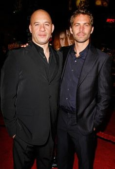Vin Diesel and Paul Walker. Outing myself: I love the Fast and Furious franchise!! sad paul walker passed away... loved all the fast furious movies, looking forward to 7