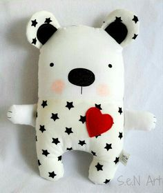 Black and White Stars Handmade Stuffed Teddy Bear Soft Toy Bear Modern Baby… Fabric Toys, Fabric Decor, Sewing For Kids, Baby Sewing, Diy Bebe, Bear Toy, Teddy Bear, Sewing Dolls, Stuffed Animal Patterns