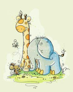 Elephant Friends of (Rachelle Anne Miller) Tags: Graphic 45, Animal Drawings, Cute Drawings, Baby Canvas, Cute Clipart, Tatty Teddy, Baby Art, Cute Images, Whimsical Art