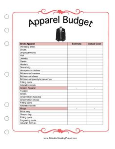 The Wedding Planner Budget Worksheet Helps You Keep Tabs On Costs