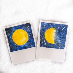 Handpained watercolor Polaroids. Universe themed.