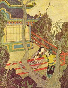 Edmund Dulac, Arabian Nights, Sinbad, 1907, and somehow Sinbad winds up in a Japanese print.