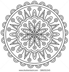 Mandala Black And White Round Ornament Coloring Page Vector Illustration