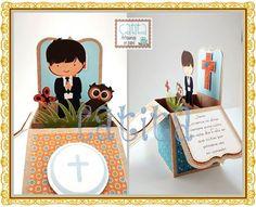 Card in a box. Communion boy.