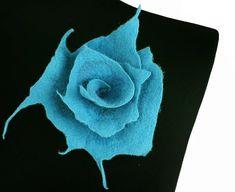 Turquoise Felted Brooch felt nuno nunofelt silk flower by filcant, $39.00