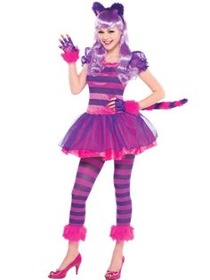 Cheshire Cat - Child and Teen Costume front Cute Teen Costumes, Halloween Costumes For Teens Girls, Children Costumes, Cute Halloween Costumes, Cat Costumes, Costume Ideas, Easy Halloween, Grease Costumes, Halloween City