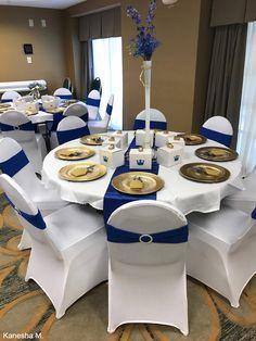 Royal Blue Centerpieces, Royal Blue Wedding Decorations, Quince Decorations, Quinceanera Decorations, Quinceanera Party, Royal Blue Suit Wedding, Blue Gold Wedding, Royal Blue And Gold, Banquet Chair Covers
