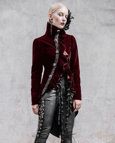 Amazing Gothic/Steampunk Vampire style womens tailcoat jacket in lightweight, super-soft deep wine red velveteen polyester fabric.