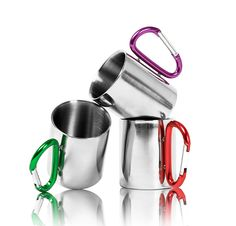 Carabiner Mug - Besides its cool appearence thes mugs are really usefull. Their handles are carabines at the same time and it's harder to lose your mug if you can clip it onto the side of your backpack.