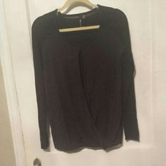 LABWORKS split front top Black with folded over split front too. Bateau neckline and kimono style sleeves. New without tag in great condition LAB WORKS Tops