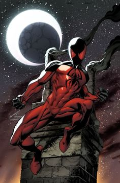 Kaine Parker (Scarlet spider) is a fictional character, a superhero and former supervillain in the Marvel Comics who serves as an ally, an enemy, and a foil of Spider-Man and Ben Reilly. He first appeared in Web of Spider-Man #119, and is the Jackal's first failed attempt at cloning Peter Parker (Spider-Man).
