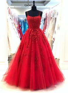 Red Spaghetti Straps Tulle Lace Appliques Modest Evening Dress Long Prom Dress This dress can be made with custom sizes and color. So cheap and so charming. A Line Prom Dresses, Tulle Prom Dress, Cheap Prom Dresses, Prom Party Dresses, Dance Dresses, Tulle Lace, Dress Lace, Graduation Dresses, Prom Dress Long
