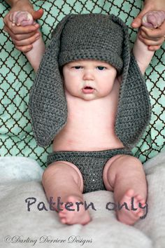 Instant Download PDF Bunny Hat, Diaper Cover, and Tail Crochet Pattern
