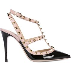 VALENTINO 100mm Rockstud Patent Leather Pumps (3,655 AED) ❤ liked on Polyvore featuring shoes, pumps, heels, footwear, valentino, ankle strap high heel pumps, valentino pumps, high heel pumps, pointed-toe pumps and pointy toe ankle strap pumps